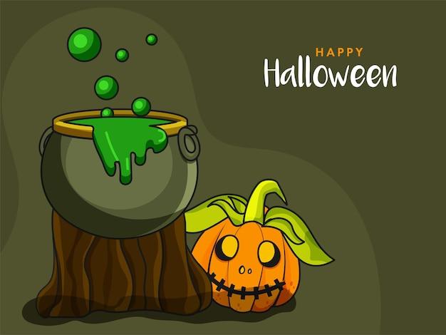 Glückliches halloween-konzept mit beängstigendem kürbis und kochendem trank-kessel auf grünem hintergrund.