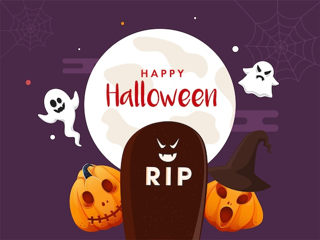 Glückliches halloween-konzept mit cartoon ghosts rip stone und jackolanterns