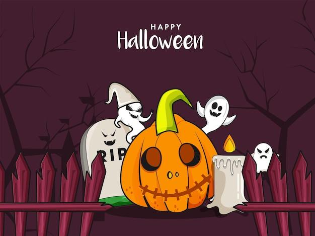 Glückliches halloween-konzept mit fröhlichen geistern, unheimlichem kürbis, rip-stein und brennender kerze auf purpurrotem waldhintergrund.