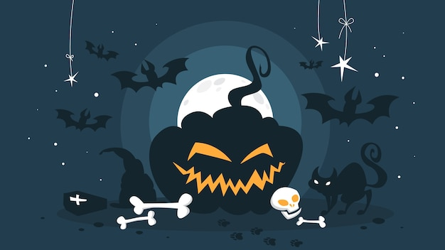 Glückliches halloween-konzept. urlaub feiern. gruseliger kürbis und schwarzer sarg. lustige dekoration. illustration