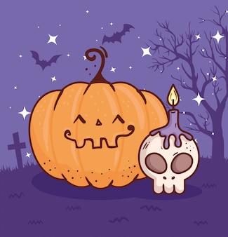 Glückliches halloween, kürbis im friedhof mit schädel- und kerzenvektorillustrationsentwurf