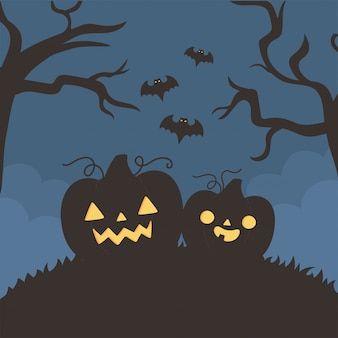 Glückliches halloween, kürbisse fliegen fledermäuse baumnacht trick oder behandeln party feier vektor-illustration