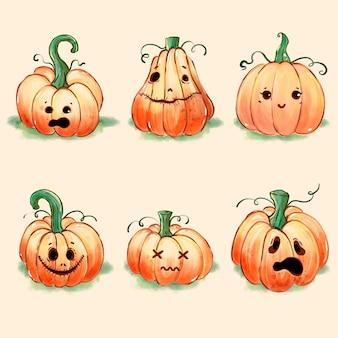 Glückliches halloween-kürbisset
