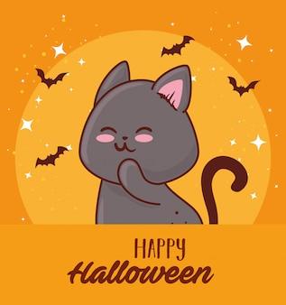 Glückliches halloween mit dem niedlichen katzen- und fledermausfliegen-vektorillustrationsdesign