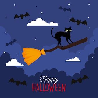 Glückliches halloween mit der katze im hexenbesen fliegen