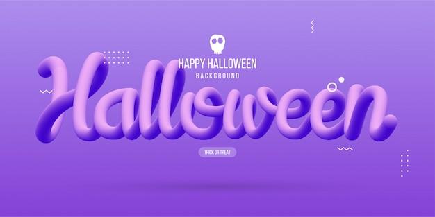 Glückliches halloween mit flüssiger flüssigkeit des textes 3d