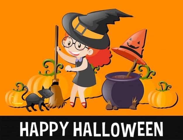 Glückliches halloween mit kind im hexenkostüm