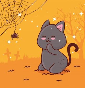 Glückliches halloween, mit niedlichem katzen- und spinnenvektorillustrationsentwurf