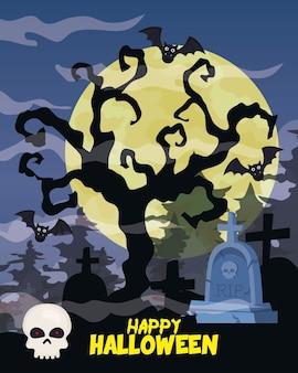 Glückliches halloween mit trockenem baum, schädel in der friedhofsszene