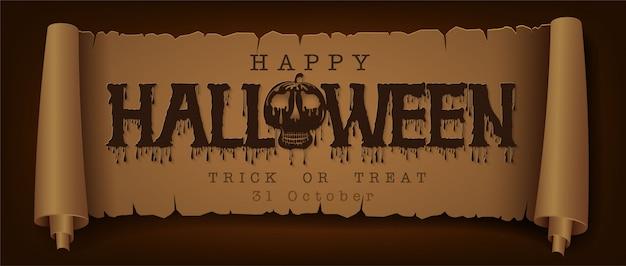 Glückliches halloween-mitteilungsdesign auf retro- des papierhintergrundes