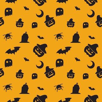 Glückliches halloween-muster mit kürbis, fledermaus, hexenhut