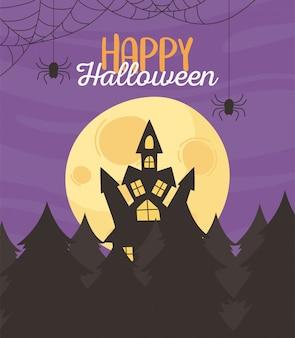 Glückliches halloween, nachtmondfledermausschloss und waldtrick oder behandeln partyfeiervektorillustration