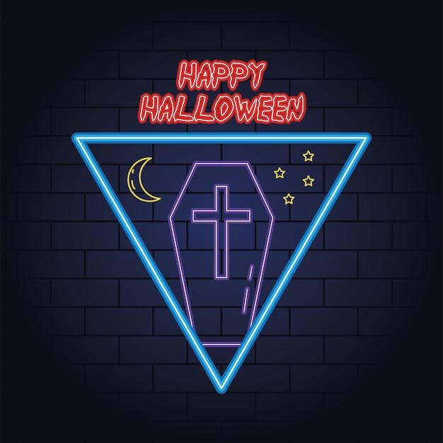 Glückliches halloween-neonlicht des sarg- und mondvektorillustrationsentwurfs