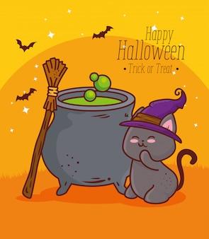 Glückliches halloween, niedliche katze mit kessel und huthexenvektorillustrationsentwurf