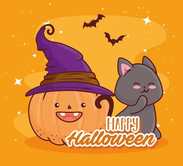 Glückliches halloween, niedlicher kürbis unter verwendung der huthexe mit dem fliegenden vektorillustrationsdesign der katze und der fledermäuse