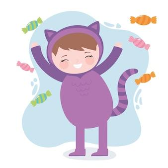 Glückliches halloween, niedliches mädchenkatzenkostümcharakter mit süßigkeiten, süßes oder saures partyfeier