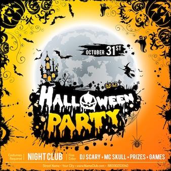 Glückliches halloween-party-plakat mit schloss auf vollmond-hintergrund, halloween-kürbissen und schmutzrahmen. vektor-illustration