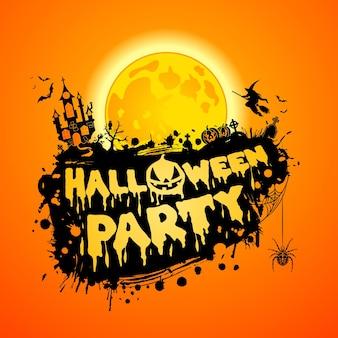 Glückliches halloween-party-plakat mit schloss auf vollmond-hintergrund und halloween-kürbissen. vektor-illustration