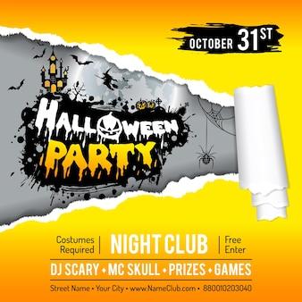 Glückliches halloween-party-plakat mit schloss auf vollmond-hintergrund, zerrissenem loch auf papier und halloween-kürbissen. vektor-illustration
