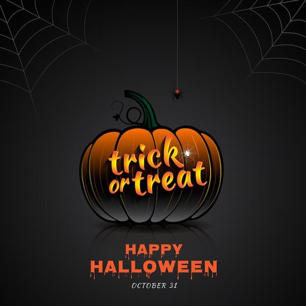 Glückliches halloween-party süßes sonst gibt's saures kürbis- und spinnennetz