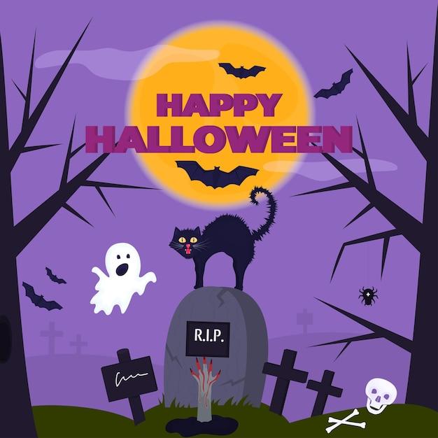 Glückliches halloween-partyplakat. ein lustiger geist erschreckte die katze auf dem friedhof. die hand einer leiche ragt aus dem grab