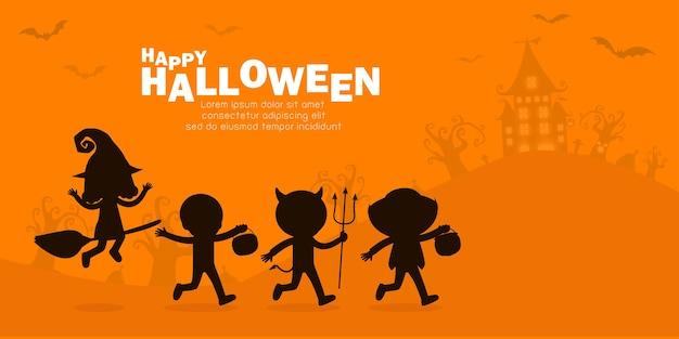 Glückliches halloween-partyplakat, niedliche kleine gruppenkinderschattenbild gekleidet in halloween-kostüm, um süßes oder saures zu gehen, bannerhintergrund, vorlage für werbebroschüre illustration
