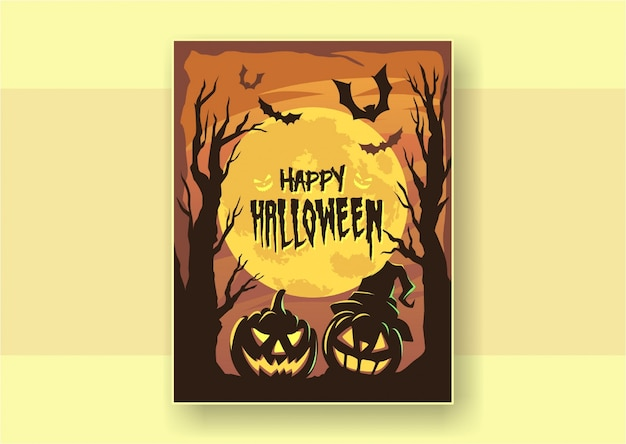 Glückliches halloween-plakat des flachen designs