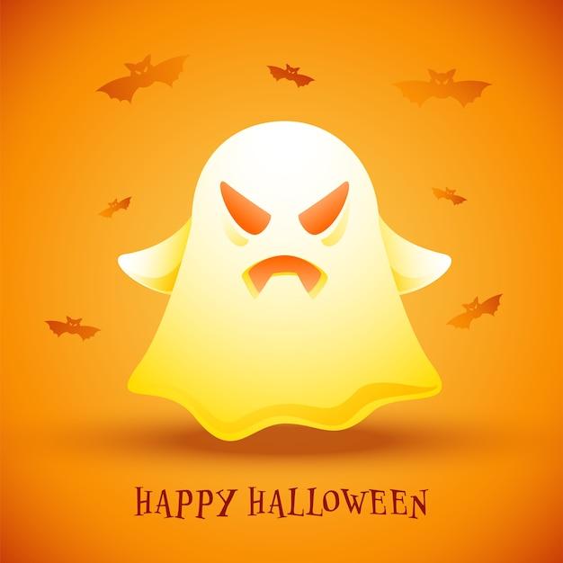 Glückliches halloween-plakat-design mit glänzendem cartoon-geist und fliegenden fledermäusen auf orange bakground.