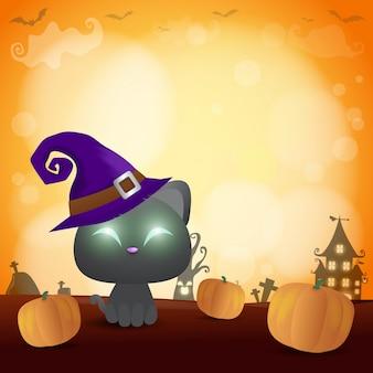 Glückliches halloween-plakat, schwarze katze unter dem mondlicht,