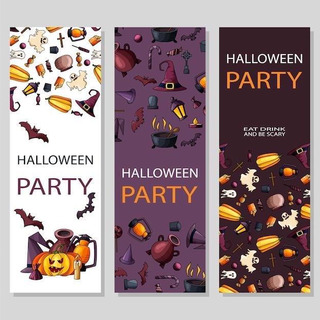 Glückliches halloween-plakatdesign. vektorvorlage mit symbolen im cartoon-stil. party einladung.