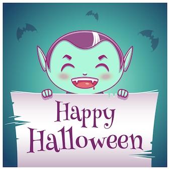 Glückliches halloween-poster mit kleinem kind im kostüm des vampirs mit pergament auf dunkelblauem hintergrund. fröhliche halloween-party. für poster, banner, flyer, einladungen, postkarten.