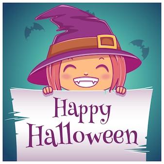 Glückliches halloween-poster mit kleinem mädchen im kostüm der hexe mit pergament auf dunkelblauem hintergrund. fröhliche halloween-party. für poster, banner, flyer, einladungen, postkarten.