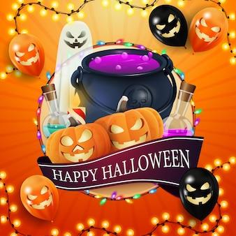 Glückliches halloween, quadratische orange postkarte mit großem kreis, girlande, halloween-ballons, geist, hexenkessel und kürbis jack