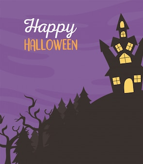 Glückliches halloween, schloss in hügelnacht trick oder behandeln party feier vektor-illustration