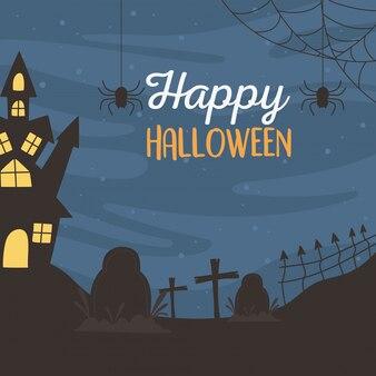 Glückliches halloween, schlossfriedhofskreuze und fledermäuse trick oder behandeln partyfeiervektorillustration