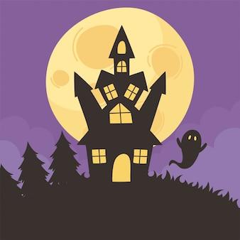 Glückliches halloween, schlossgeistmondnachtwald-trick oder behandeln partyfeiervektorillustration