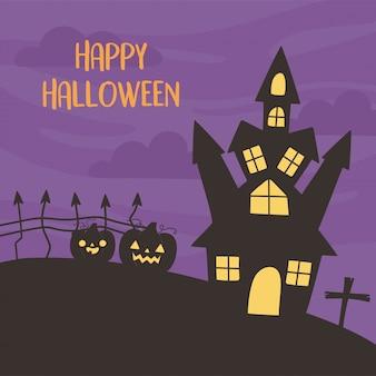 Glückliches halloween, schlosskürbisse kreuzen nachttrick oder behandeln partyfeiervektorillustration