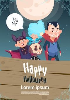 Glückliches halloween-süßes sonst gibt's saures niedliches kindermonster-plakat