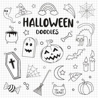 Glückliches halloween und element auf papierhintergrund