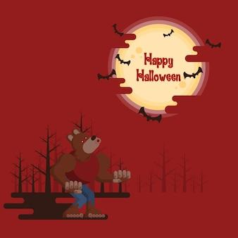 Glückliches halloween, werwolf, der nachts in einem wald unter glühendem vollmond und fliegen heult