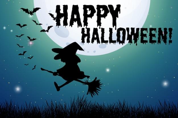 Glückliches halloween-zeichen mit hexe auf besen