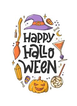 Glückliches halloween-zitat verziert mit doodles