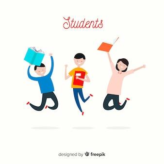 Glückliches hand gezeichnetes studentenspringen