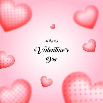 Glückliches herz des valentinstags auf rosa hintergrund-premium-vektor