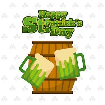 Glückliches hölzernes fass st. patricks tages und grüne biere