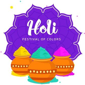 Glückliches holi festival der farbengrußkartenschablone