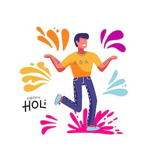 Glückliches holi. mann, der am traditionellen indischen festival von farben teilnimmt. freudiger fröhlicher kerl. bunter getrennter druck. illustration auf weiß mit farbflecken, spritzen