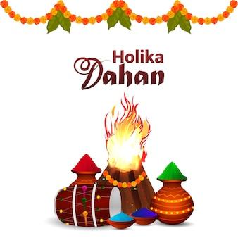 Glückliches holi oder holika dehan mit kreativem knochenfeuer und hintergrund