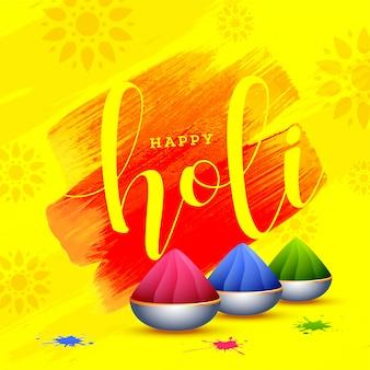 Glückliches holi-plakatdesign mit schalen voll trockener farben auf yello
