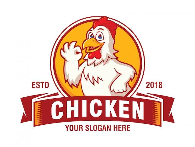 Glückliches huhn für restaurant-logo